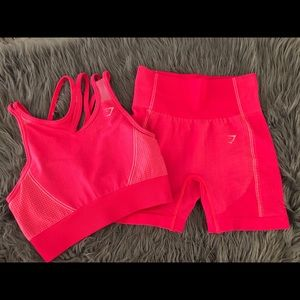 NWT Cute GYMSHARK Ultra Seamless 2Pc Set Pink